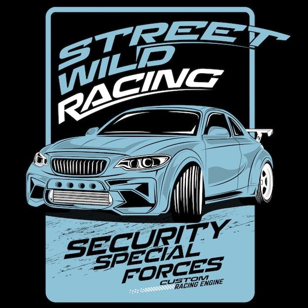 Corrida de rua selvagem, ilustrações de carros de vetor