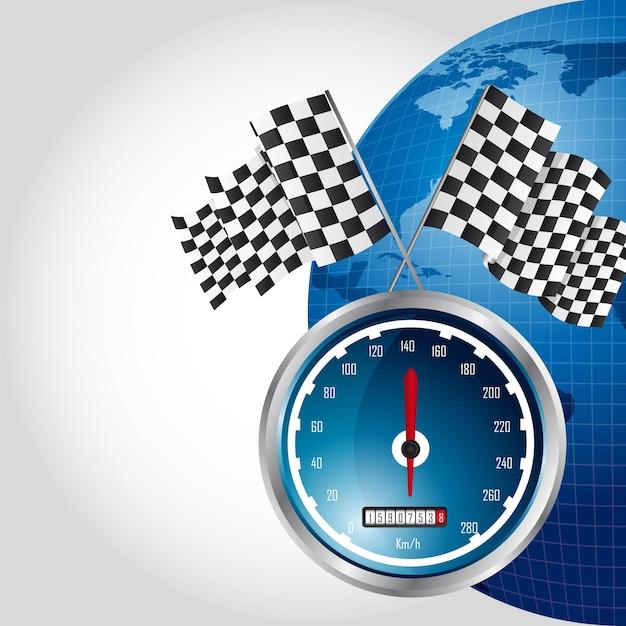 Corrida de velocidade com bandeira quadriculada