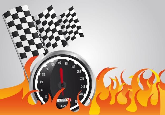 Corrida de velocidade com fogo e bandeiras quadriculadas