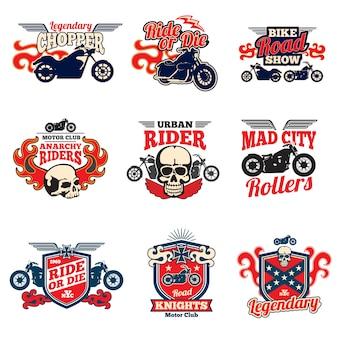 Corrida de velocidade de motocicleta retro bagges de vetor de pintura e emblemas de moto