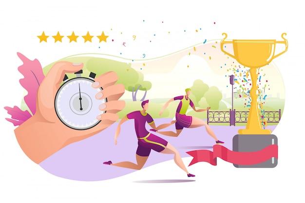 Corrida do desportista e cronômetro para o exercício da aptidão, ilustração. pessoas saudáveis na competição, gráfico de atleta ativo. estilo de vida de personagem de desenho animado corredor, atividade atlética de maratona.