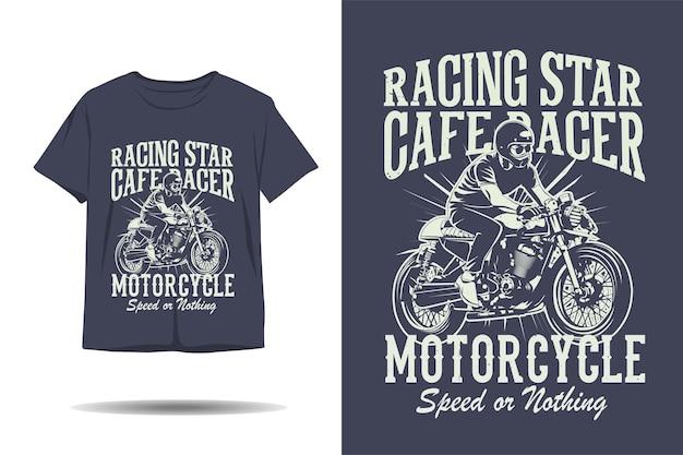 Corrida estrela café racer motocicleta velocidade ou nada design de silhueta silhueta