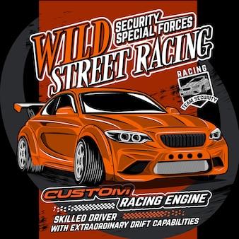 Corrida selvagem de segurança, ilustração vetorial de carro