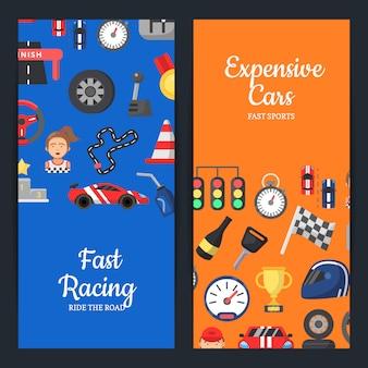 Corridas de carro plana ícones modelos de banner web