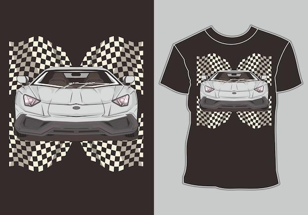 Corridas de carros esportivos de camiseta com bandeira