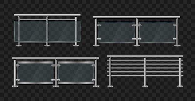 Corrimãos de metal. balaustrada de vidro com frente e ângulo de corrimão de ferro. seção de cercas de vidro