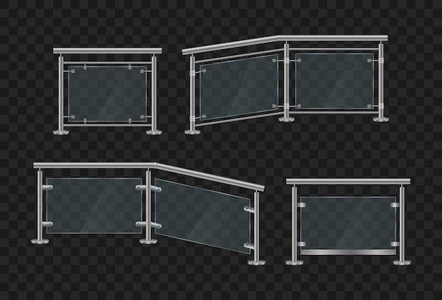 Corrimãos de metal. balaustrada de vidro com frente e ângulo de corrimão de ferro