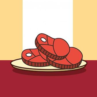Corta pedaços de carne no prato