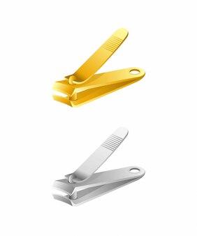 Cortador de unhas cortador inoxidável e ouro na ilustração realista