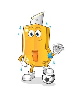 Cortador engraçado jogando futebol design de ilustração