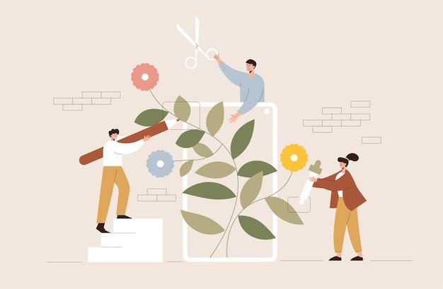Cortando árvore, ilustração de estilo cartoon