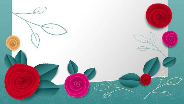 Cortar bandeira floral de papel