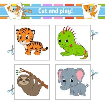 Cortar e brincar. cartões flash. quebra-cabeça de cores. planilha de desenvolvimento de educação. página de atividade.