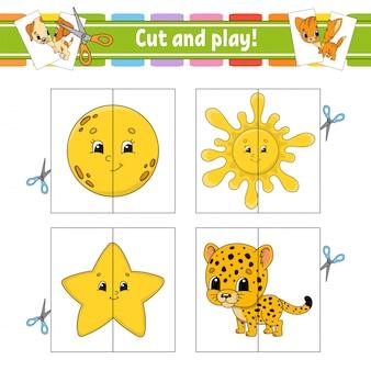 Cortar e brincar. cartões flash. quebra-cabeça de cores. planilha de desenvolvimento de educação.