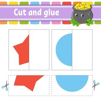 Cortar e brincar. jogo de papel com cola. cartões flash. pote, estrela, círculo. planilha de educação. página de atividade.