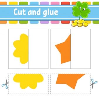 Cortar e brincar. jogo de papel com cola. cartões flash. trevo, flor, estrela. planilha de educação.