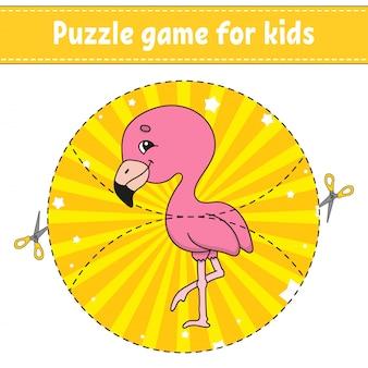 Cortar e brincar. quebra-cabeça de lógica para crianças. planilha de desenvolvimento de educação. jogo de aprendizagem. página de atividade.