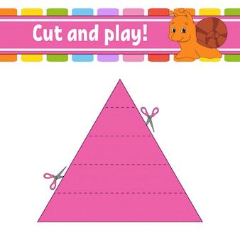 Cortar e brincar. quebra-cabeça de lógica para crianças.