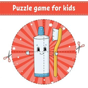 Cortar e brincar. quebra-cabeça redonda. tubo de creme dental com escova de dentes.