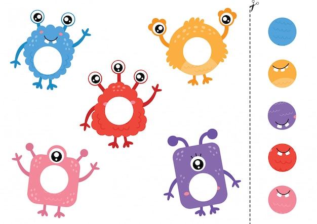 Cortar e colar partes de monstros bonitos dos desenhos animados.