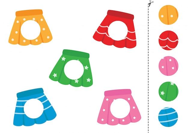 Cortar e colar partes de saias. jogo para crianças.