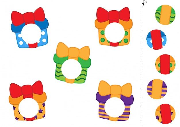Cortar e colar peças de caixas de presente bonito dos desenhos animados.