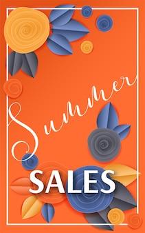 Cortar papel floral banner verão vendas