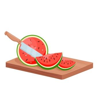 Corte a costeleta de melancia com a faca do chef na tábua de madeira, fatias de melancia suculenta com sementes