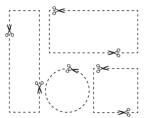 Corte a forma diferente do cupom com uma tesoura. conjunto de bordas de cupom. corte ao longo da linha pontilhada