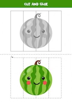Corte a imagem de uma linda melancia kawaii e cole-a.