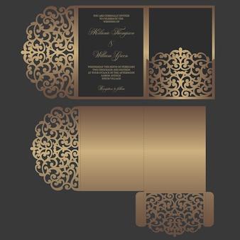 Corte a laser ornamentado modelo dobrável em três partes. projeto de envelope de bolso de convite de casamento.