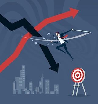 Corte a perda. estratégia do mercado de ações, interrompendo as perdas. conceito de negócios