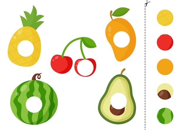 Corte as partes das frutas e cole-as nos lugares certos. ilustração em vetor de abacaxi, cereja, manga, abacate, melancia. jogo lógico educativo para crianças.