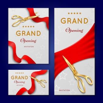 Corte da fita com os cartões do convite da cerimónia de grande inauguração das tesouras.