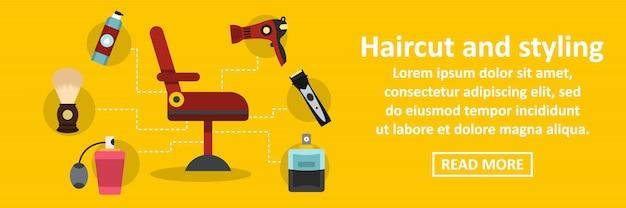 Corte de cabelo e styling banner conceito horizontal