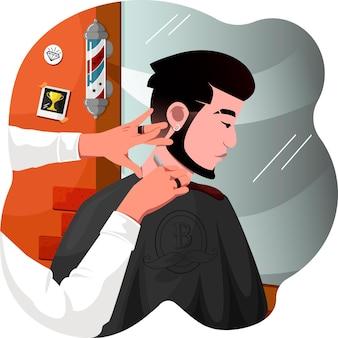 Corte de cabelo masculino feito na barbearia