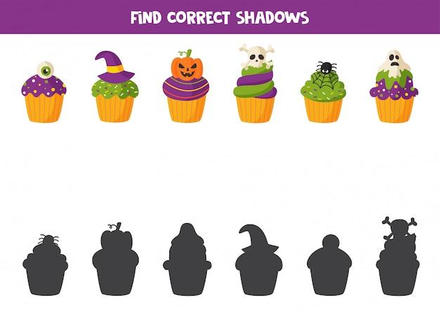 Corte de cupcakes de halloween e jogo de cola para crianças.