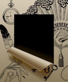 Corte de folha de papel emoldurado e parcialmente enrolado