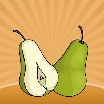 Corte de frutas frescas de pêra