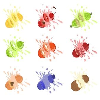 Corte de frutas repleto de suco