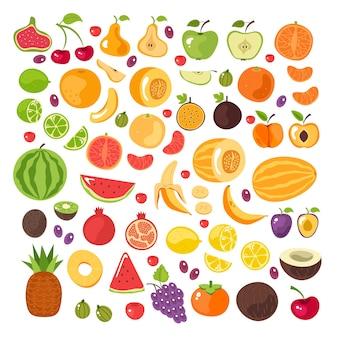 Corte de meia fatia e conjunto isolado de frutas inteiras
