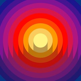 Corte de papel 3d abstrato com fundo de círculos de gradiente de tons. cores amarelas, rosa, vermelhas e azuis. design moderno do vetor.