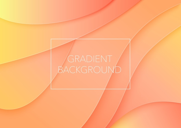 Corte de papel arte abstrata cor laranja ondas curvas de fundo