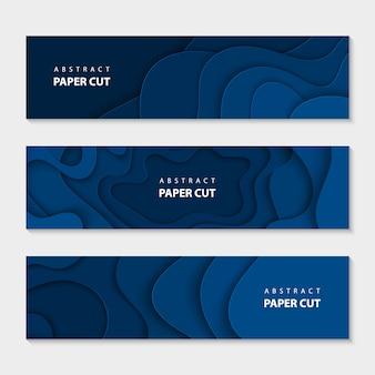 Corte de papel azul ondas forma abstrata modelo