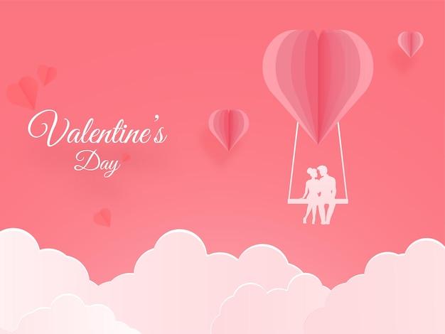 Corte de papel balanço de coração com silhueta de casal e nuvens