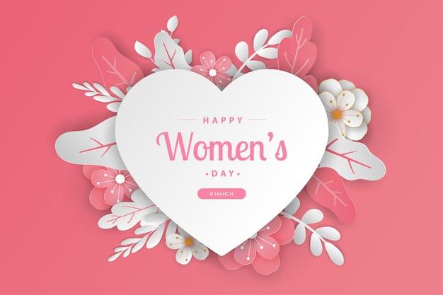 Corte de papel cartão feliz dia da mulher com texto editável.