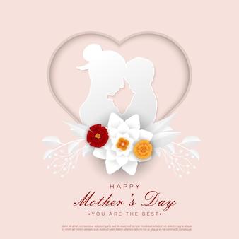 Corte de papel com flores para o dia da mulher feliz