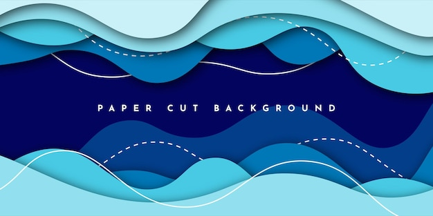 Corte de papel com fundo azul abstrato