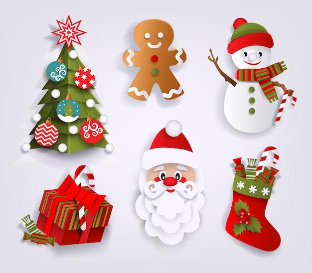 Corte de papel conjunto de elementos de decoração de natal