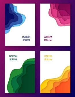 Corte de papel conjunto multicolorido de ondas abstratas em quadros.
